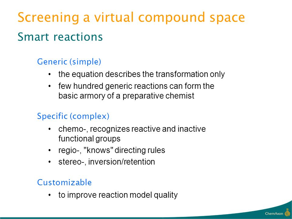 Screening a virtual compound space