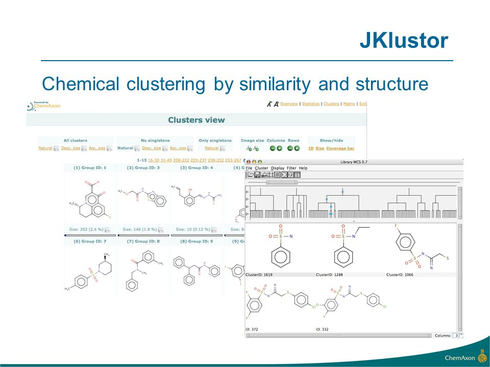 JKlustor Chemical clustering by similarity and structure