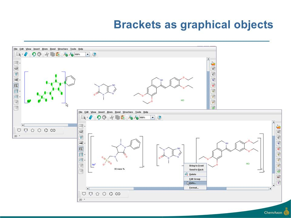 Brackets as graphical objects