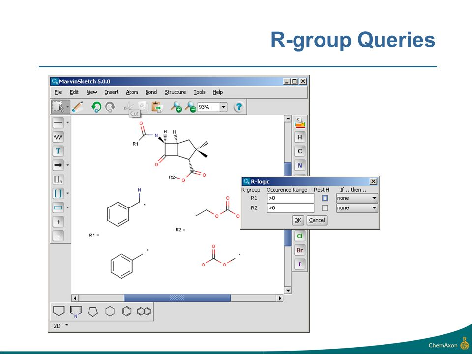 R-group Queries R-groups support is useful for query drawing.