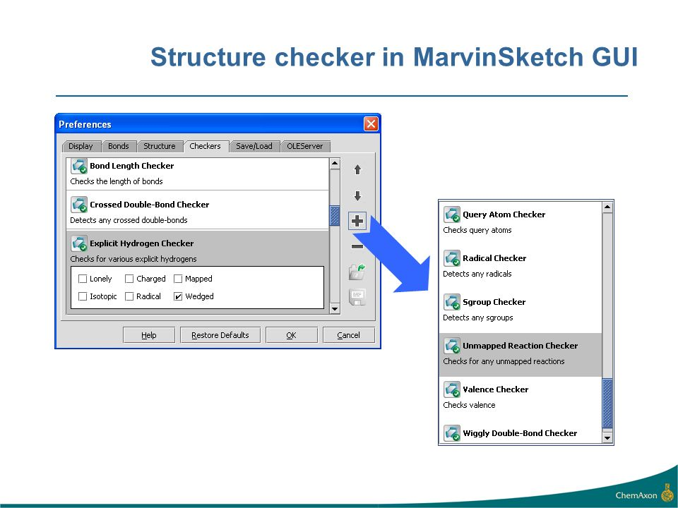 Structure checker in MarvinSketch GUI