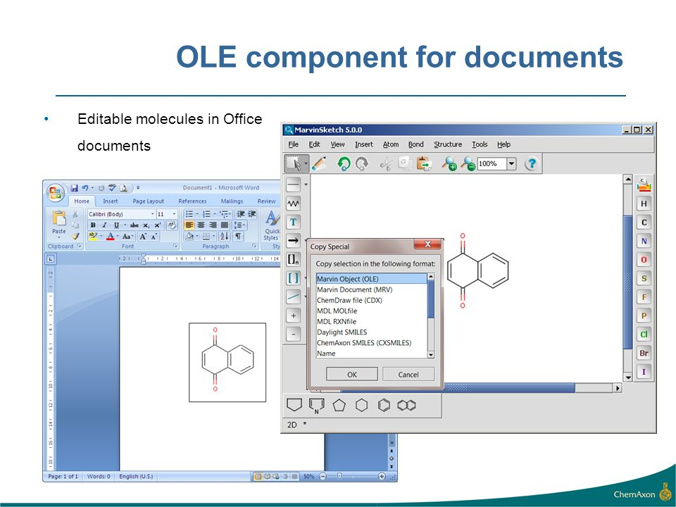 OLE component for documents