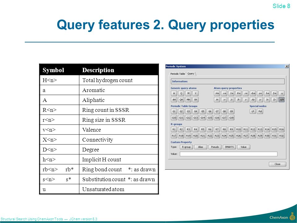 Query features 2. Query properties