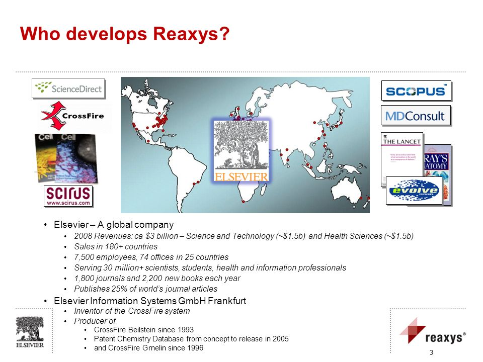 Who develops Reaxys Elsevier – A global company