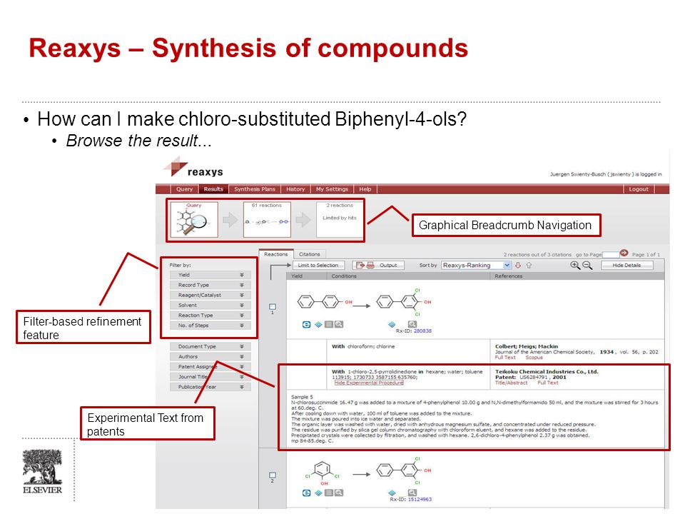 Reaxys – Synthesis of compounds