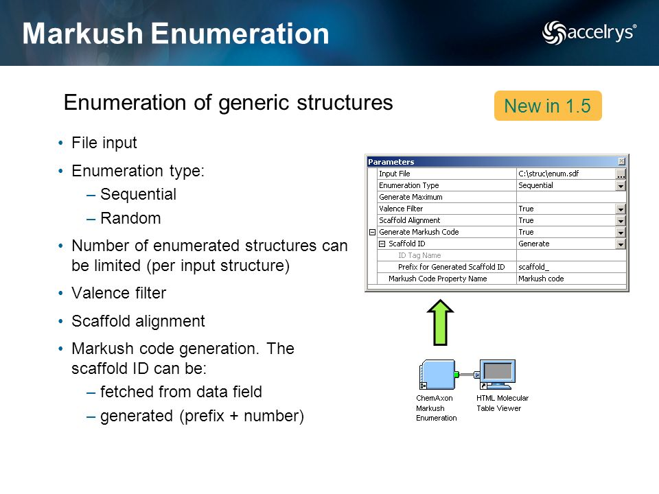 Markush Enumeration Enumeration of generic structures New in 1.5