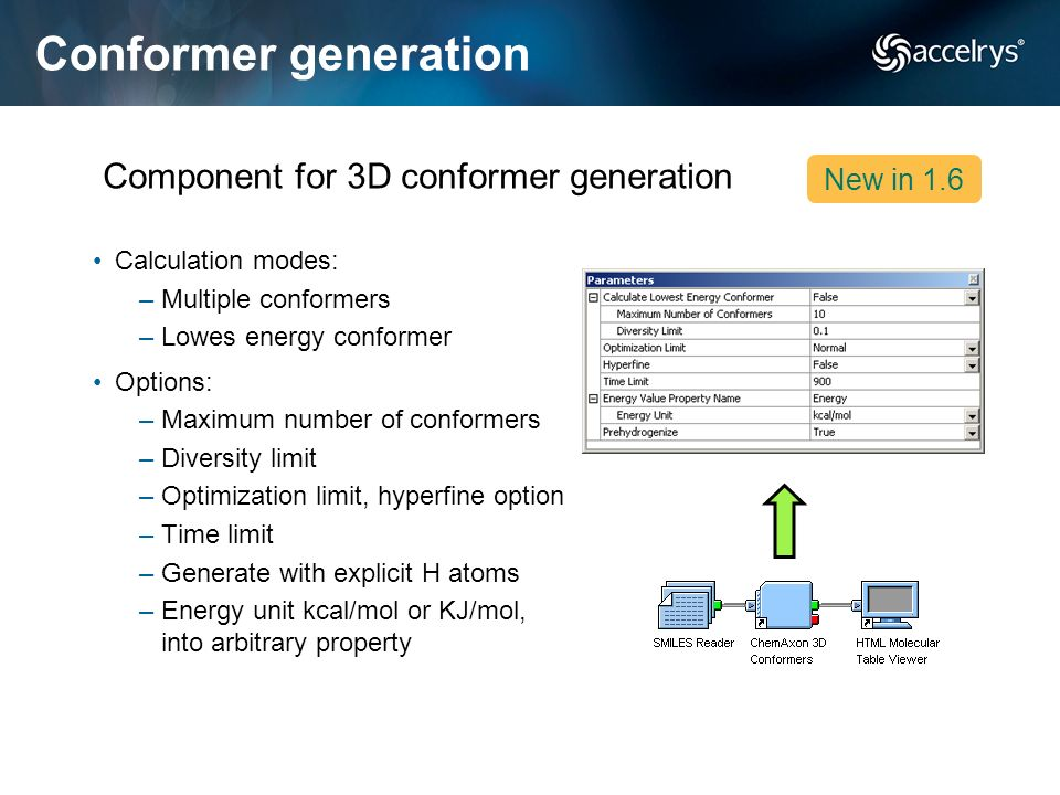 Conformer generation Component for 3D conformer generation New in 1.6