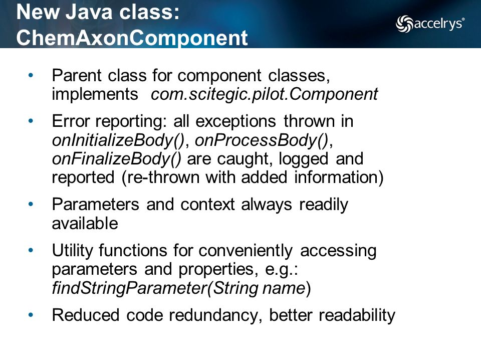 New Java class: ChemAxonComponent