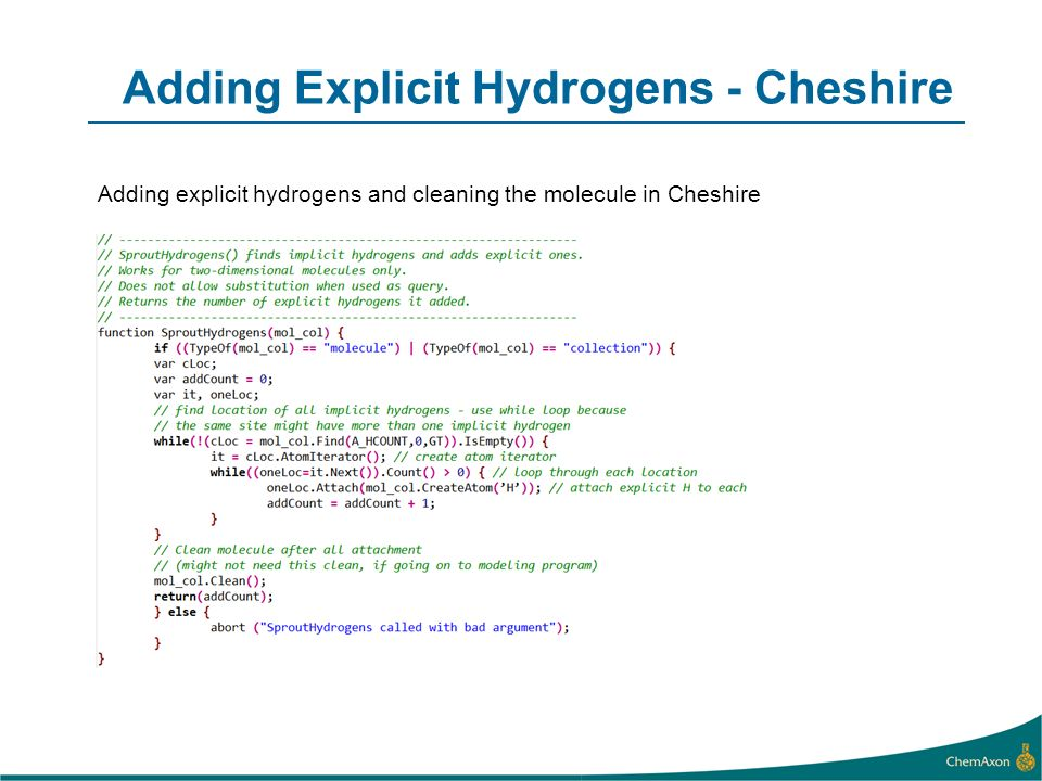 Adding Explicit Hydrogens - Cheshire