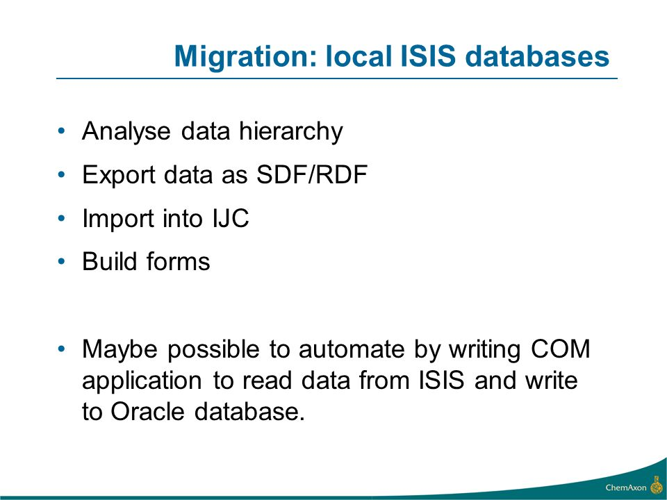 Migration: local ISIS databases