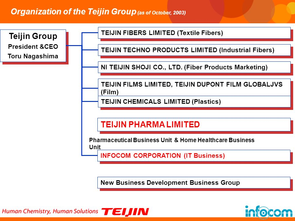Organization of the Teijin Group (as of October, 2003)