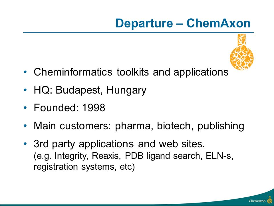 Departure – ChemAxon Cheminformatics toolkits and applications