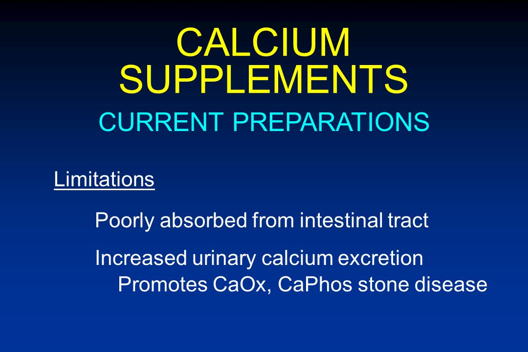 CALCIUM SUPPLEMENTS CURRENT PREPARATIONS Limitations