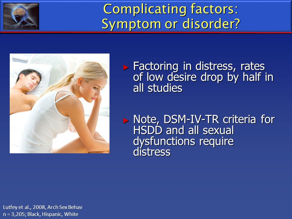 Complicating factors: Symptom or disorder