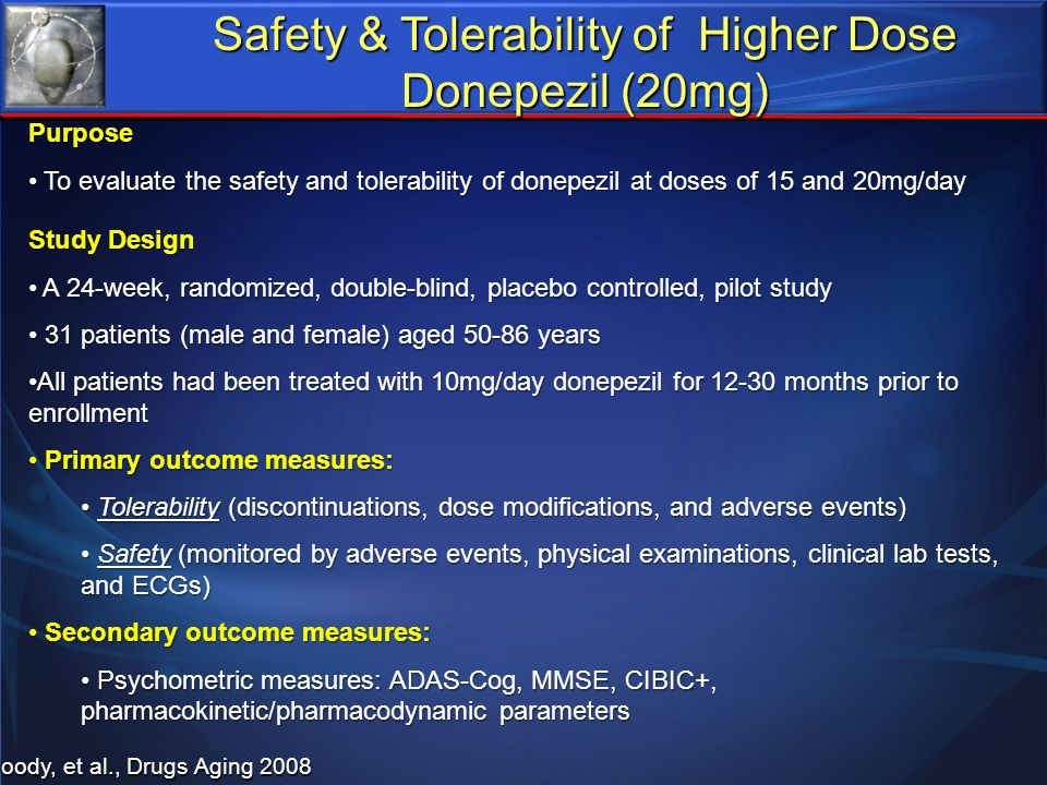 Safety & Tolerability of Higher Dose Donepezil (20mg)