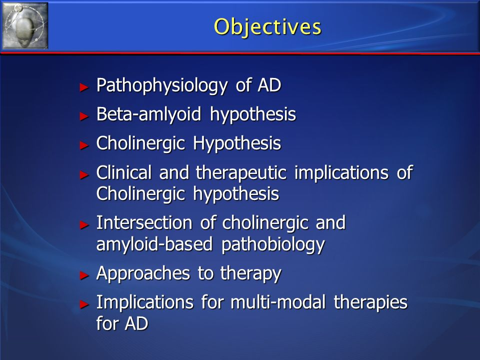 Objectives Pathophysiology of AD Beta-amlyoid hypothesis