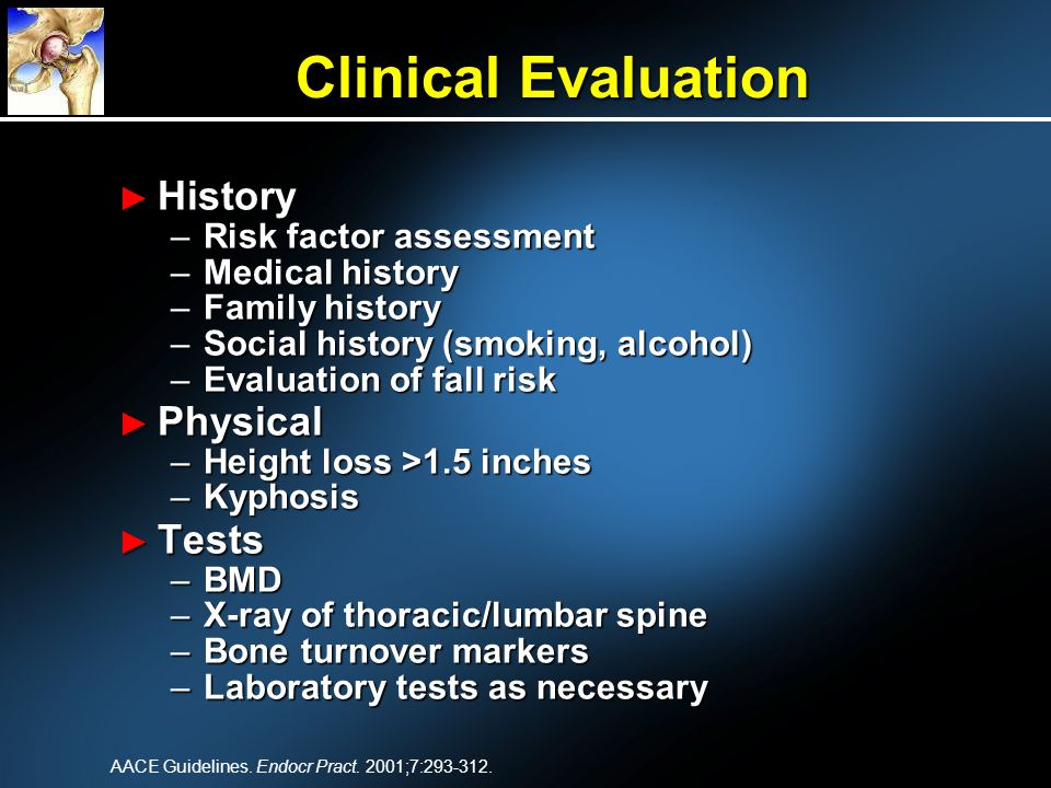 Clinical Evaluation History Physical Tests Risk factor assessment