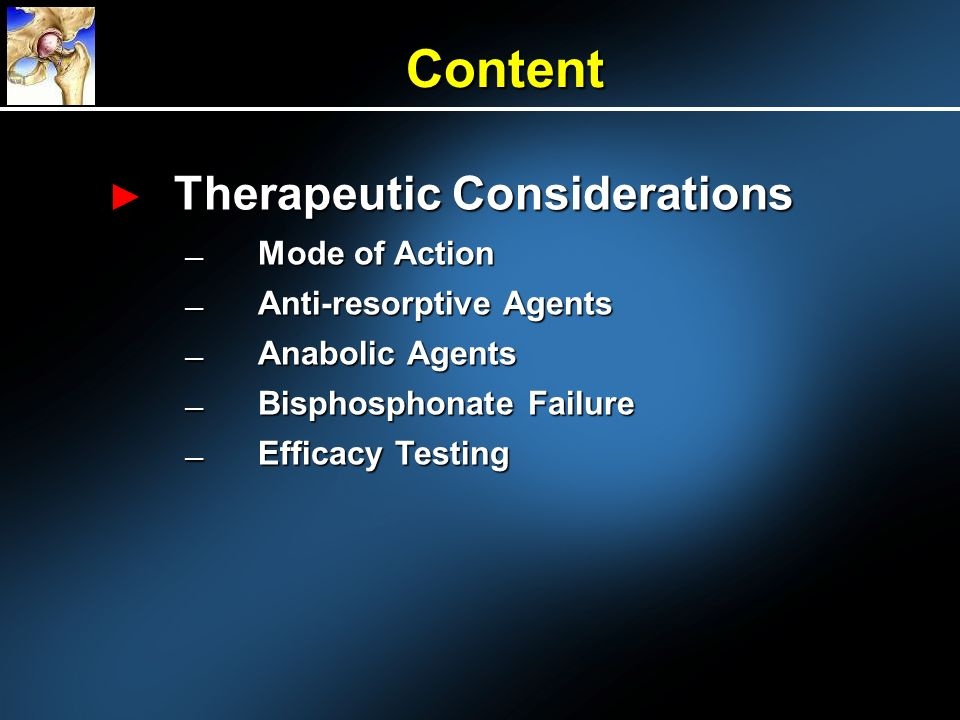 Content Therapeutic Considerations Mode of Action