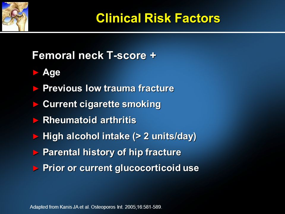 Clinical Risk Factors Femoral neck T-score + Age