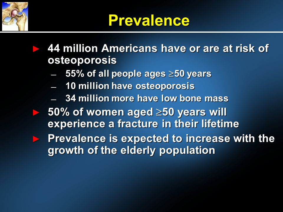 Prevalence 44 million Americans have or are at risk of osteoporosis