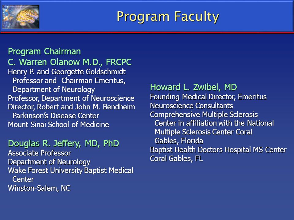 Program Faculty Program Chairman