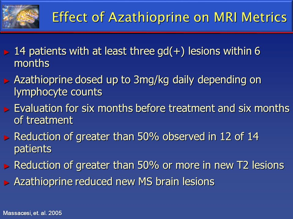 Effect of Azathioprine on MRI Metrics