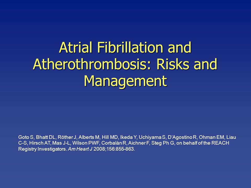 Atrial Fibrillation and Atherothrombosis: Risks and Management