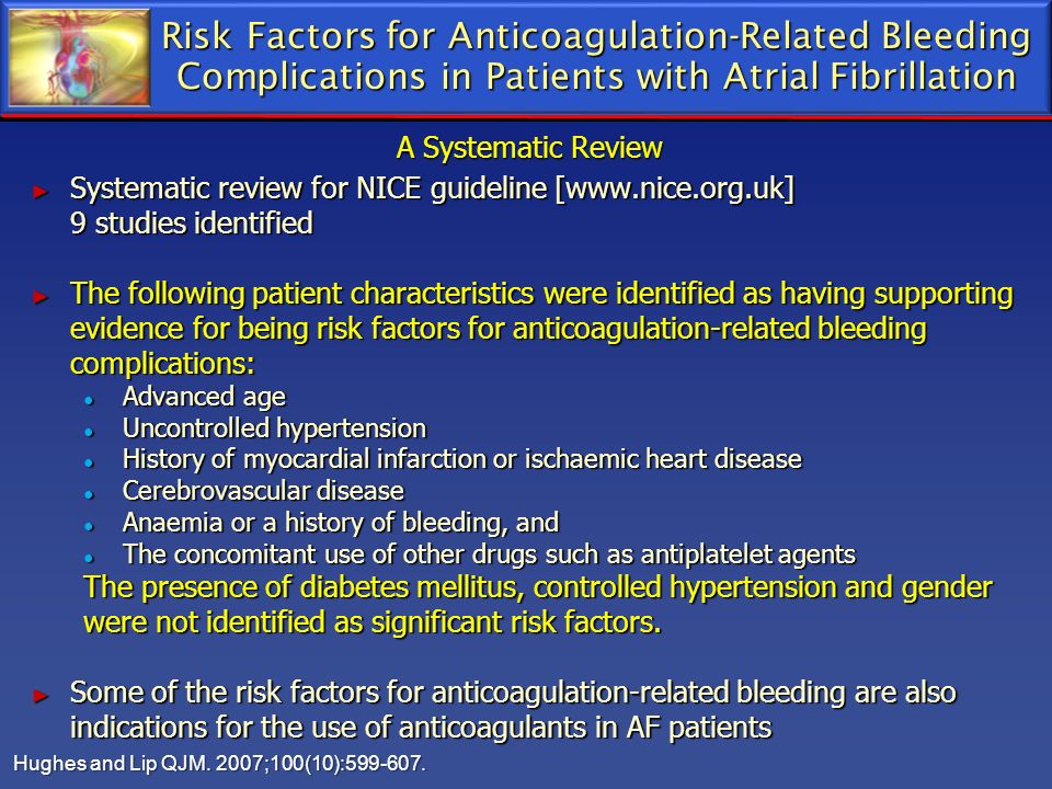 Risk Factors for Anticoagulation-Related Bleeding Complications in Patients with Atrial Fibrillation