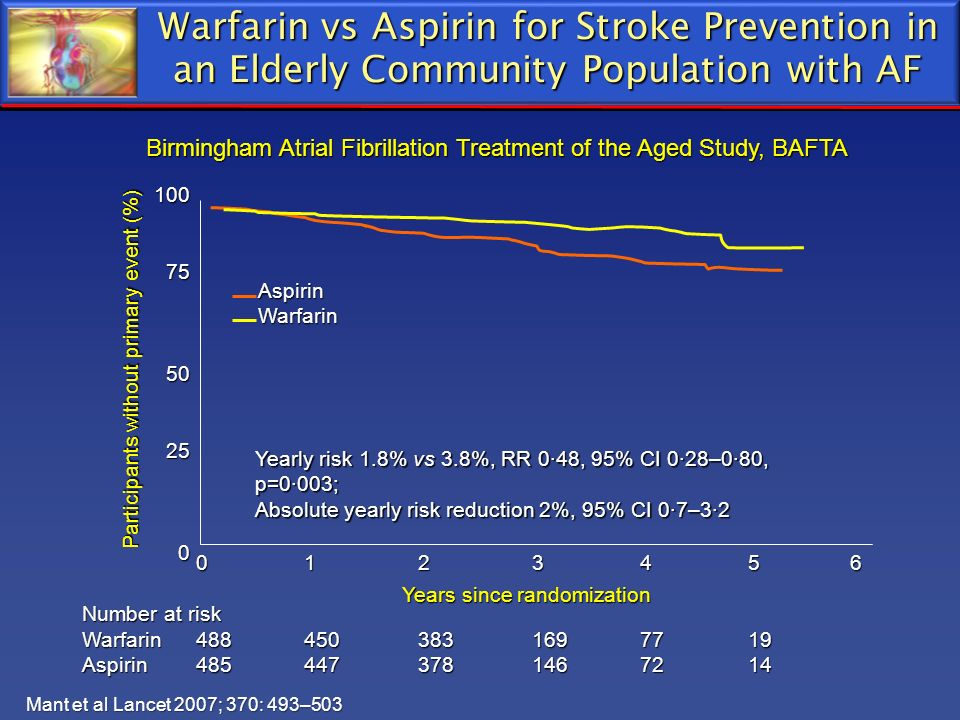 Warfarin vs Aspirin for Stroke Prevention in an Elderly Community Population with AF