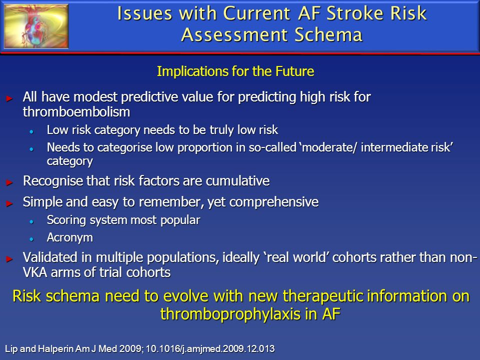 Issues with Current AF Stroke Risk Assessment Schema