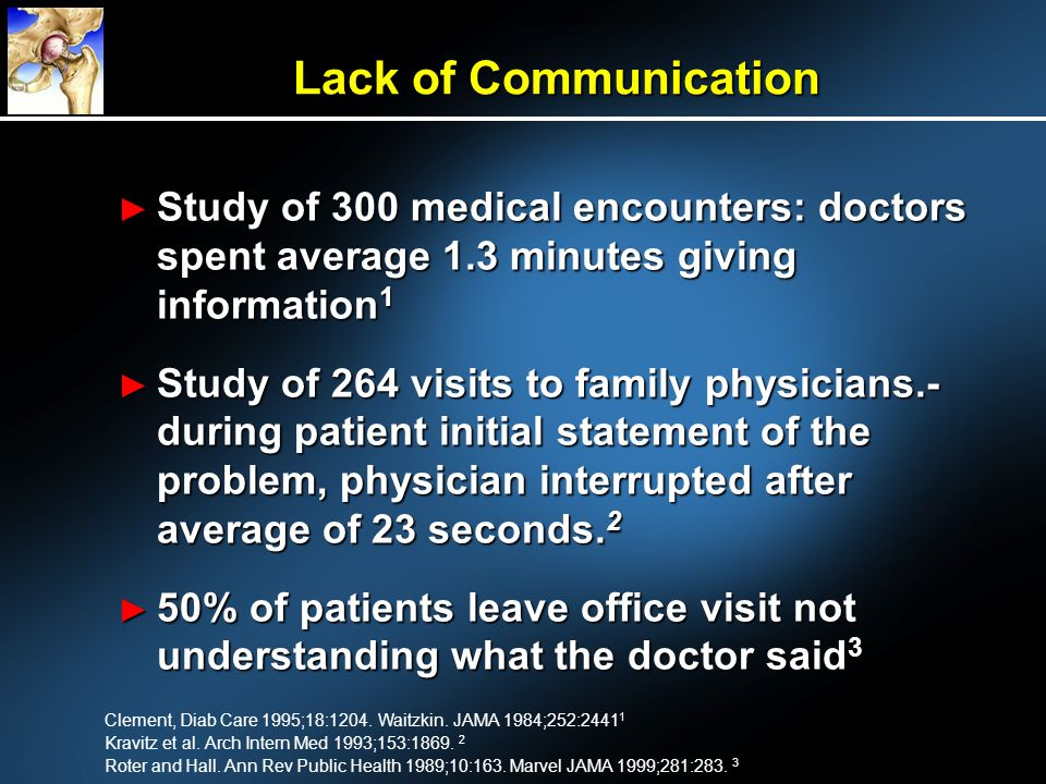 Lack of Communication Study of 300 medical encounters: doctors spent average 1.3 minutes giving information1.