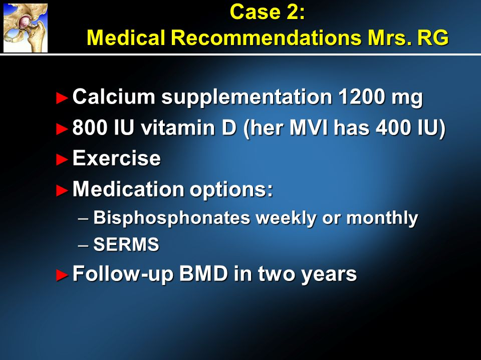 Case 2: Medical Recommendations Mrs. RG