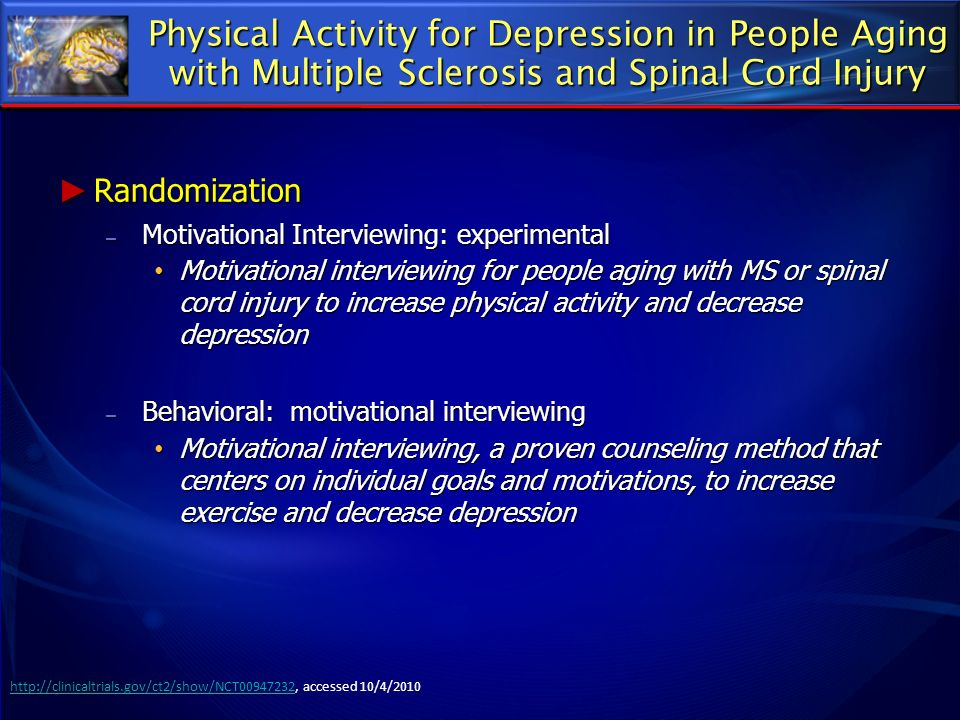 Physical Activity for Depression in People Aging with Multiple Sclerosis and Spinal Cord Injury