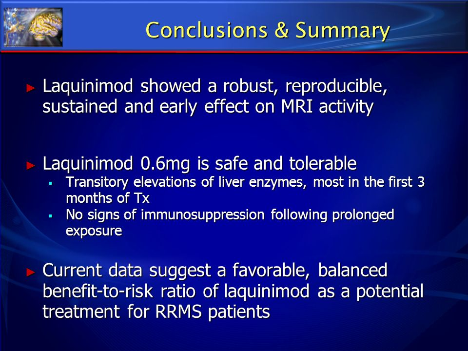 Conclusions & Summary Laquinimod showed a robust, reproducible, sustained and early effect on MRI activity.