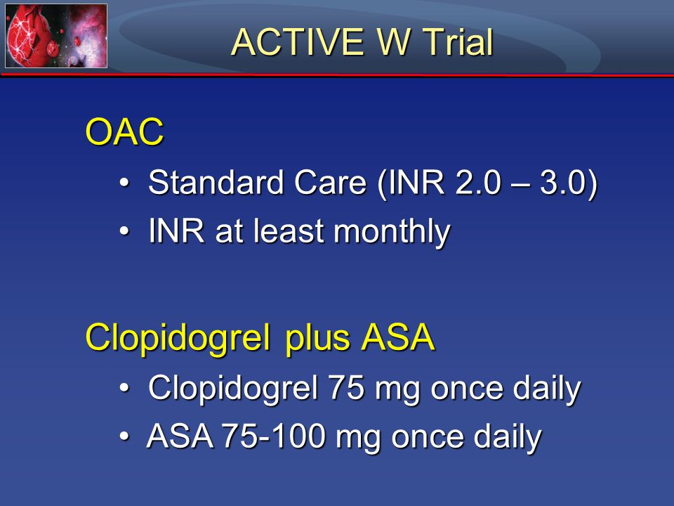 ACTIVE W Trial OAC Clopidogrel plus ASA Standard Care (INR 2.0 – 3.0)