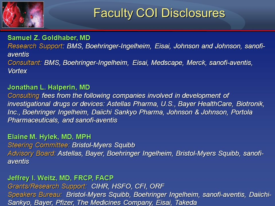 Faculty COI Disclosures
