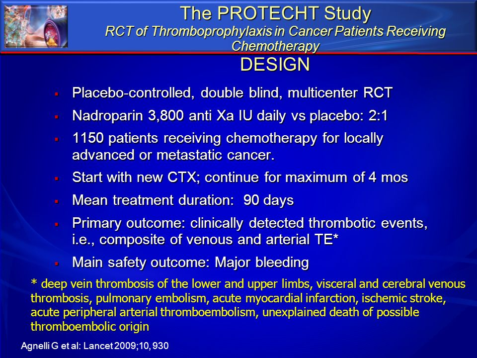 The PROTECHT Study RCT of Thromboprophylaxis in Cancer Patients Receiving Chemotherapy DESIGN
