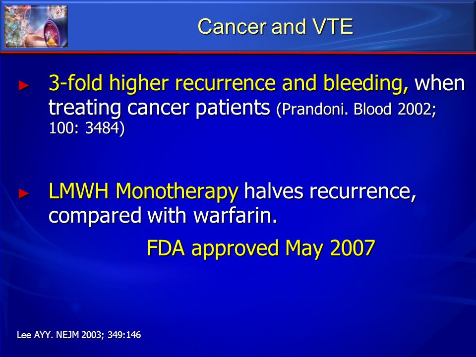 LMWH Monotherapy halves recurrence, compared with warfarin.