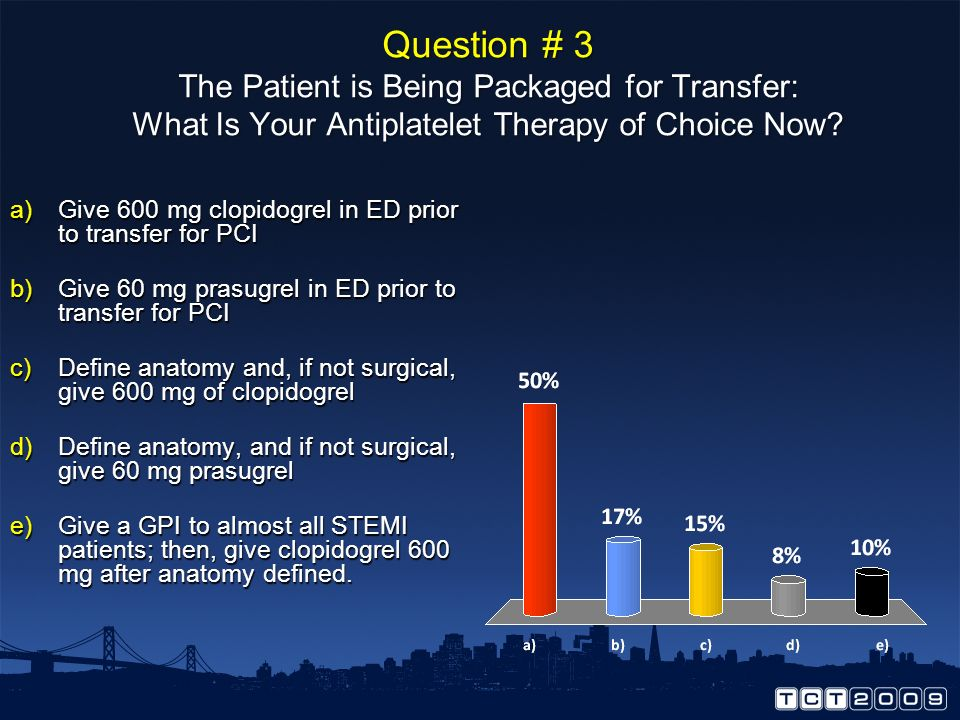 Question # 3 The Patient is Being Packaged for Transfer: What Is Your Antiplatelet Therapy of Choice Now