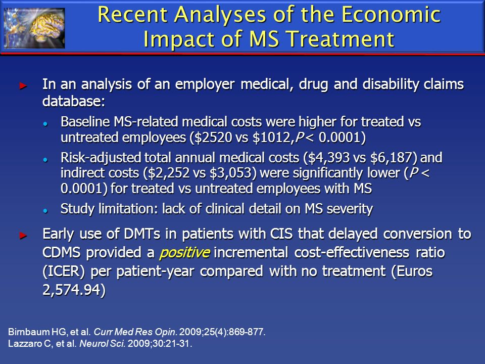 Recent Analyses of the Economic Impact of MS Treatment