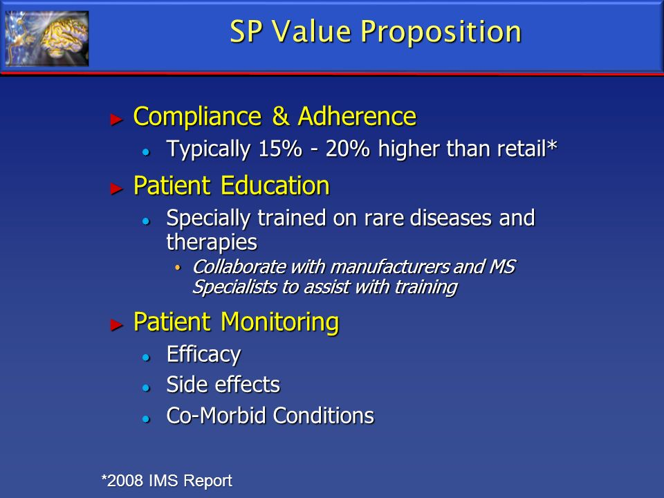SP Value Proposition Compliance & Adherence Patient Education