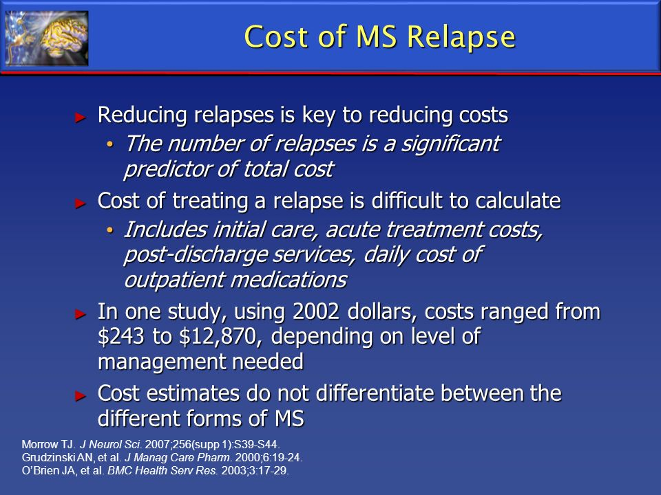 Cost of MS Relapse Reducing relapses is key to reducing costs