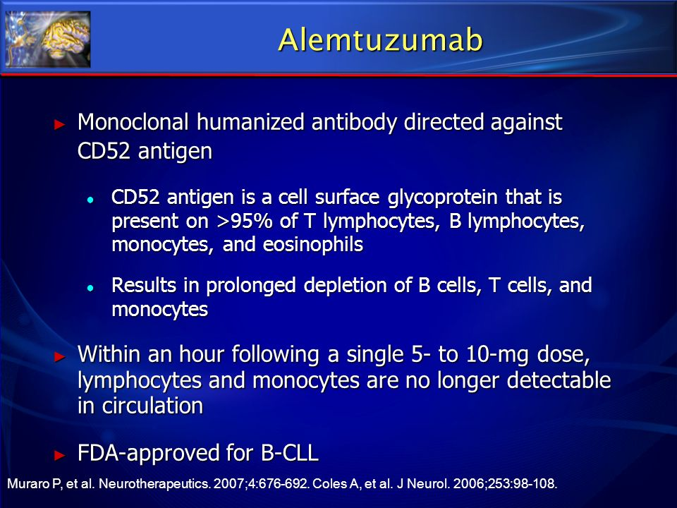 Alemtuzumab Monoclonal humanized antibody directed against CD52 antigen.