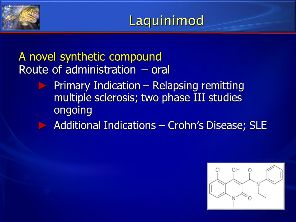 Laquinimod A novel synthetic compound Route of administration – oral