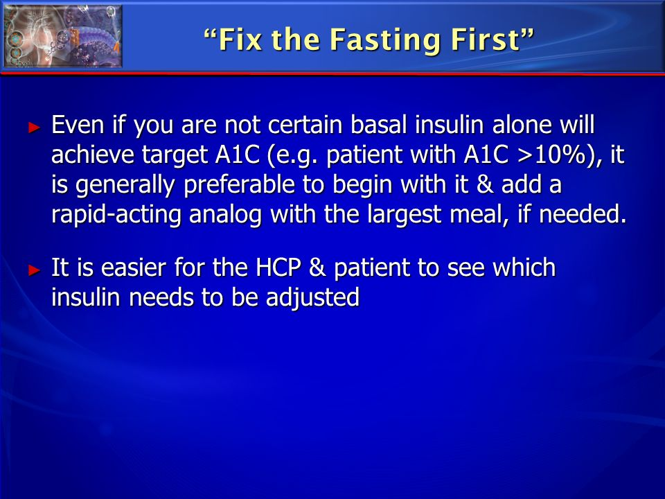 Fix the Fasting First