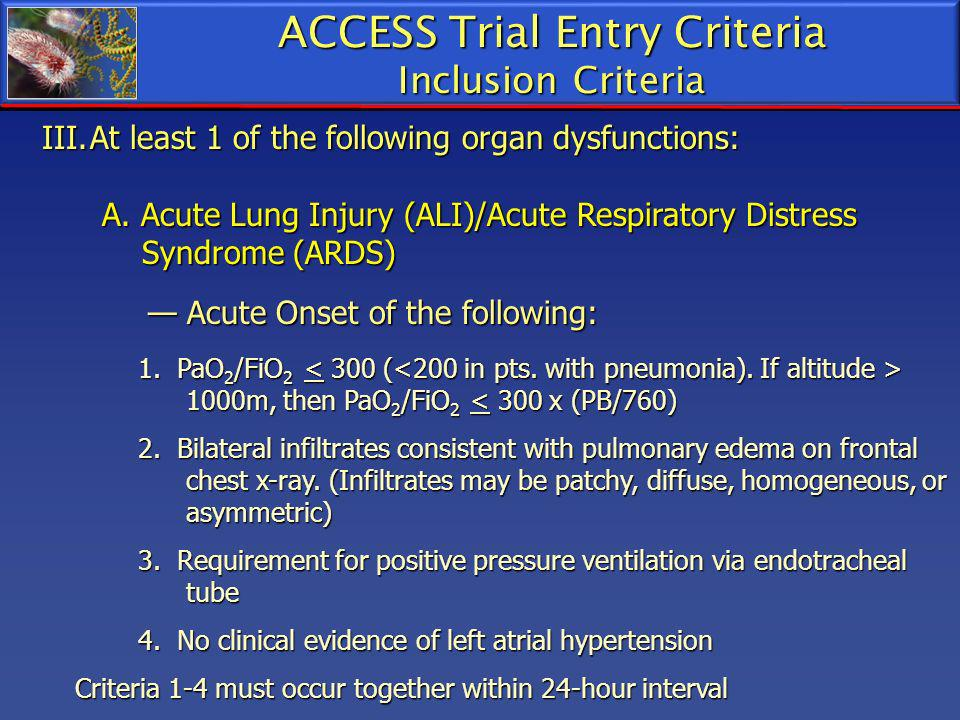 ACCESS Trial Entry Criteria