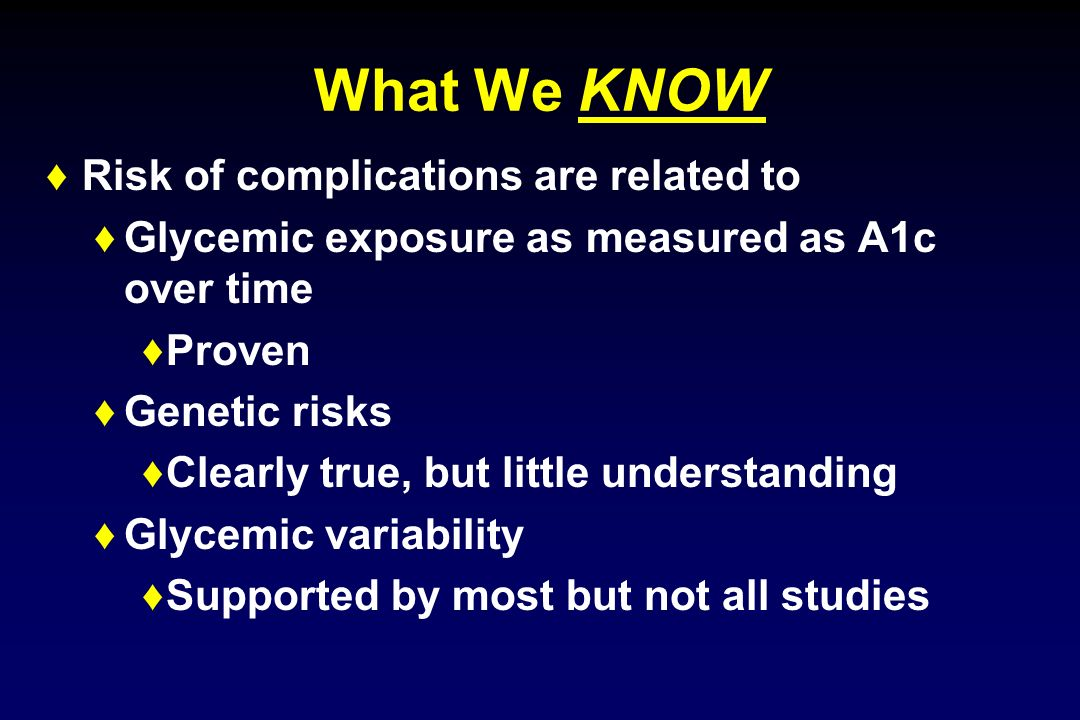 What We KNOW Risk of complications are related to