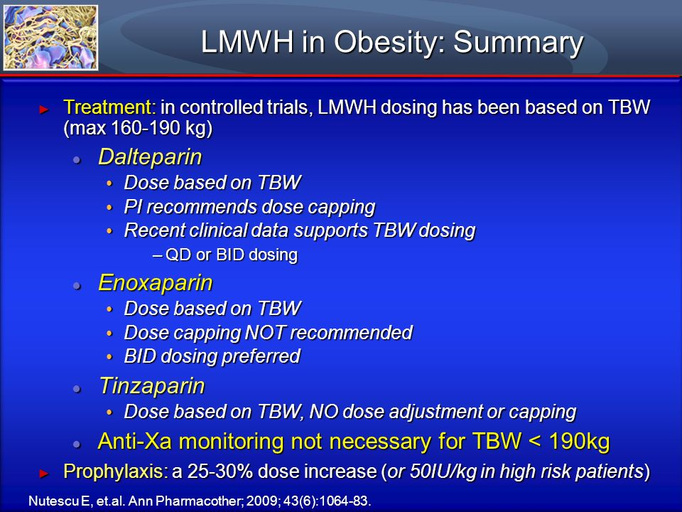 LMWH in Obesity: Summary