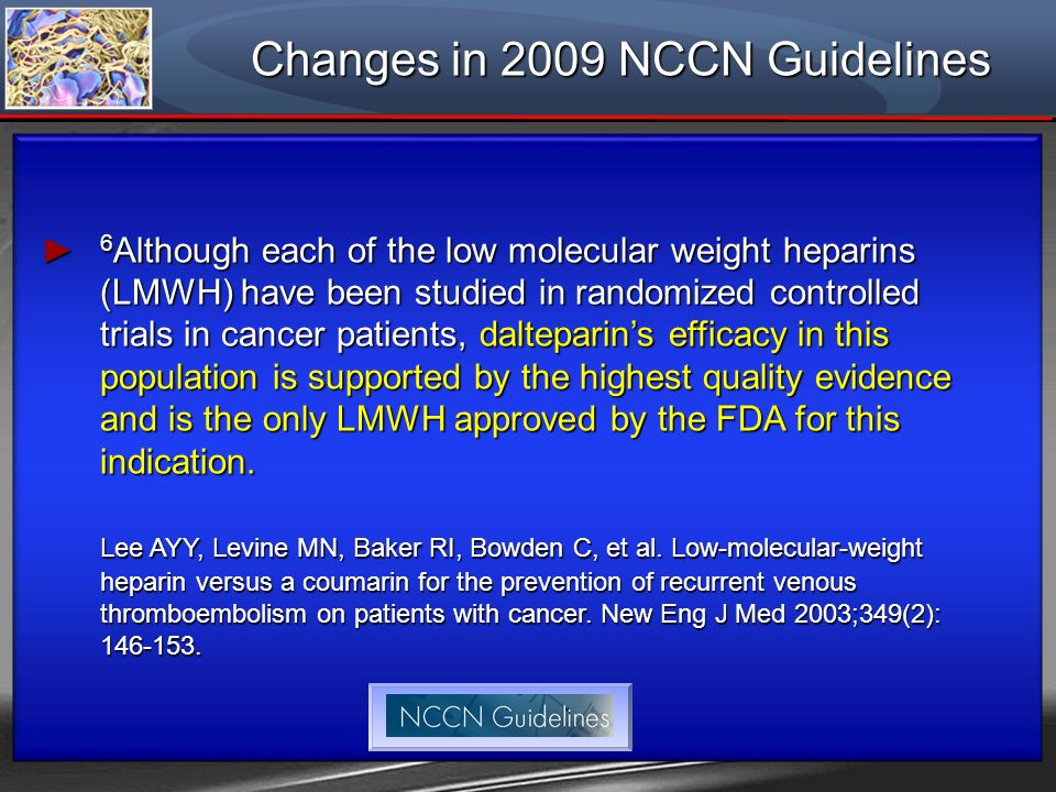 Changes in 2009 NCCN Guidelines
