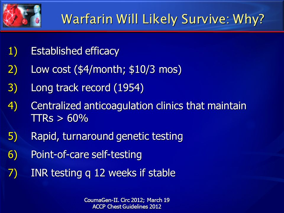 Warfarin Will Likely Survive: Why